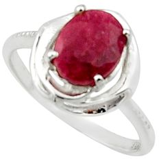 3.51cts solitaire natural red ruby 925 sterling silver ring size 8 r40625