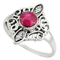 1.19cts solitaire natural red ruby 925 sterling silver ring size 8 r41947