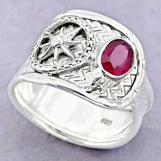 1.47cts solitaire natural red ruby 925 sterling silver ring size 8 t32401
