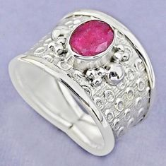 2.11cts solitaire natural red ruby 925 sterling silver ring size 8 t37173