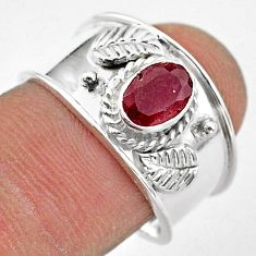 1.47cts solitaire natural red ruby 925 sterling silver band ring size 8 t42214
