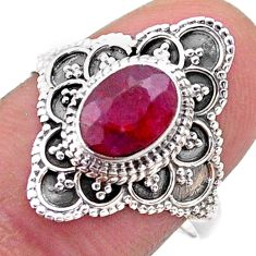 2.08cts solitaire natural red ruby 925 sterling silver ring size 8 t46597