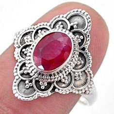 1.99cts solitaire natural red ruby 925 sterling silver ring size 8 t46599