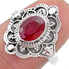 2.08cts solitaire natural red ruby 925 sterling silver ring size 8 t46655