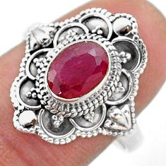 1.79cts solitaire natural red ruby 925 sterling silver ring size 8 t46675
