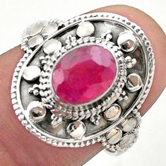 1.90cts solitaire natural red ruby 925 sterling silver ring size 8 t46696