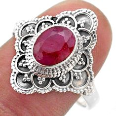 1.92cts solitaire natural red ruby 925 sterling silver ring size 9 t46639