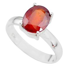 3.99cts solitaire natural red ruby 925 sterling silver ring size 8.5 t10552