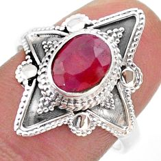 2.17cts solitaire natural red ruby 925 sterling silver ring size 8.5 t46615