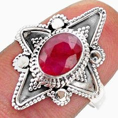 1.94cts solitaire natural red ruby 925 sterling silver ring size 8.5 t46617