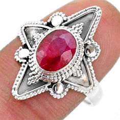 1.94cts solitaire natural red ruby 925 sterling silver ring size 8.5 t46618