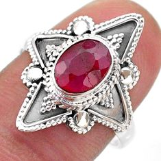 1.99cts solitaire natural red ruby 925 sterling silver ring size 7.5 t46620