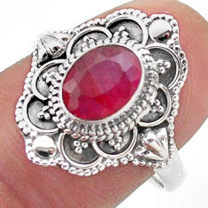 2.08cts solitaire natural red ruby 925 sterling silver ring size 8.5 t46654