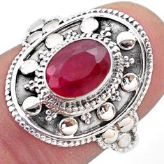 1.99cts solitaire natural red ruby 925 sterling silver ring size 7.5 t46677
