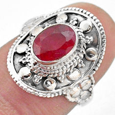1.92cts solitaire natural red ruby 925 sterling silver ring size 6.5 t46679