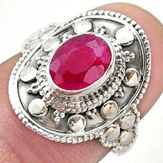 1.99cts solitaire natural red ruby 925 sterling silver ring size 6.5 t46700