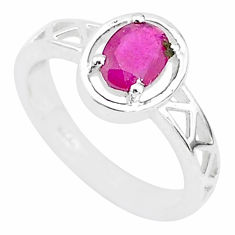 1.44cts solitaire natural red ruby 925 sterling silver ring size 8.5 t5186