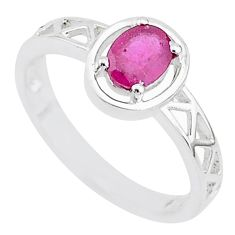 1.39cts solitaire natural red ruby 925 sterling silver ring size 8.5 t5188
