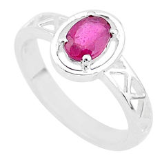 1.46cts solitaire natural red ruby 925 sterling silver ring size 7.5 t5200