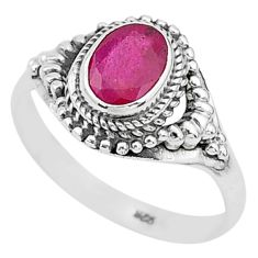 2.09cts solitaire natural red ruby 925 sterling silver ring size 9.5 t5282
