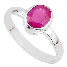 1.95cts solitaire natural red ruby 925 sterling silver ring size 6.5 t7310