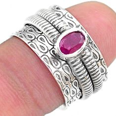 0.68cts solitaire natural red ruby oval 925 silver spinner ring size 7 t31732