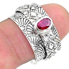 0.74cts solitaire natural red ruby oval 925 silver spinner ring size 8 t31448