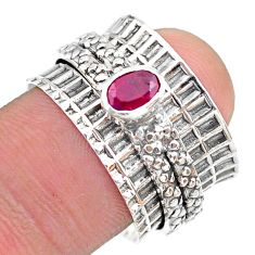 0.69cts solitaire natural red ruby oval 925 silver spinner ring size 8 t31474