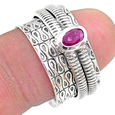 0.75cts solitaire natural red ruby oval 925 silver spinner ring size 8 t31730