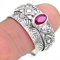 0.74cts solitaire natural red ruby oval 925 silver spinner ring size 8.5 t31449