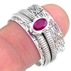 0.76cts solitaire natural red ruby oval 925 silver spinner ring size 8.5 t31728