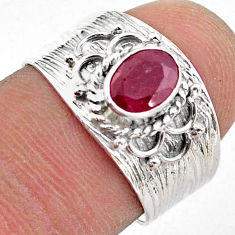 1.47cts solitaire natural red ruby oval 925 sterling silver ring size 7 t42213