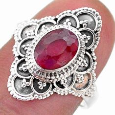 1.99cts solitaire natural red ruby oval 925 sterling silver ring size 7 t46594