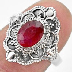 1.99cts solitaire natural red ruby oval 925 sterling silver ring size 7 t46657