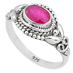 1.36cts solitaire natural red ruby oval 925 sterling silver ring size 7 t5387