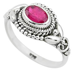 1.36cts solitaire natural red ruby oval 925 sterling silver ring size 7 t5431
