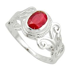 1.39cts solitaire natural red ruby oval 925 sterling silver ring size 8 r40745