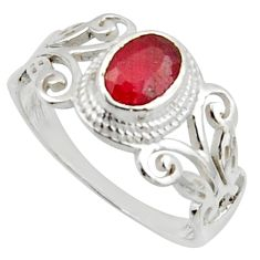 1.45cts solitaire natural red ruby oval 925 sterling silver ring size 8 r40746