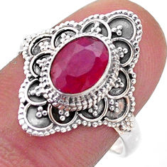 2.21cts solitaire natural red ruby oval 925 sterling silver ring size 8 t46595
