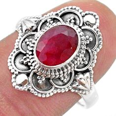 2.02cts solitaire natural red ruby oval 925 sterling silver ring size 8 t46660