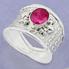 2.01cts solitaire natural red ruby oval 925 sterling silver ring size 7.5 t37171