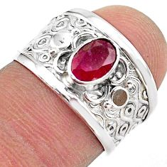 1.62cts solitaire natural red ruby oval 925 sterling silver ring size 6.5 t42217