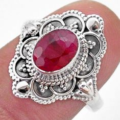 1.91cts solitaire natural red ruby oval 925 sterling silver ring size 7.5 t46658