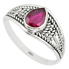 1.57cts natural cut ruby pear 925 silver graduation handmade ring size 8 t9555