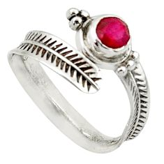 1.04cts solitaire natural red ruby round silver adjustable ring size 9 r40765