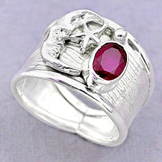 1.49cts solitaire natural red ruby silver crescent moon star ring size 7 t32361