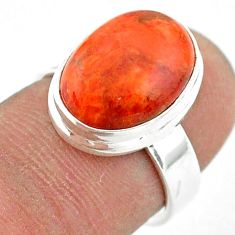 6.08cts solitaire natural red sponge coral oval 925 silver ring size 6 t42882