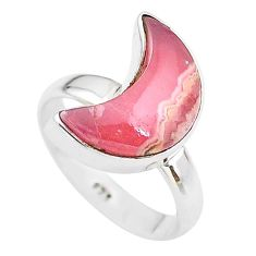 6.38cts moon natural rhodochrosite inca rose 925 silver ring size 6 t22095