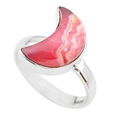6.12cts moon natural rhodochrosite inca rose 925 silver ring size 7 t22090