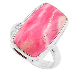 12.31cts solitaire natural rhodochrosite inca rose 925 silver ring size 7 t27744